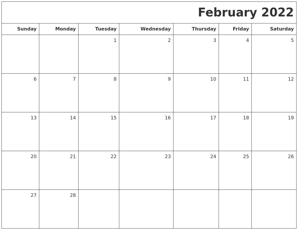 February 2022 Printable Blank Calendar