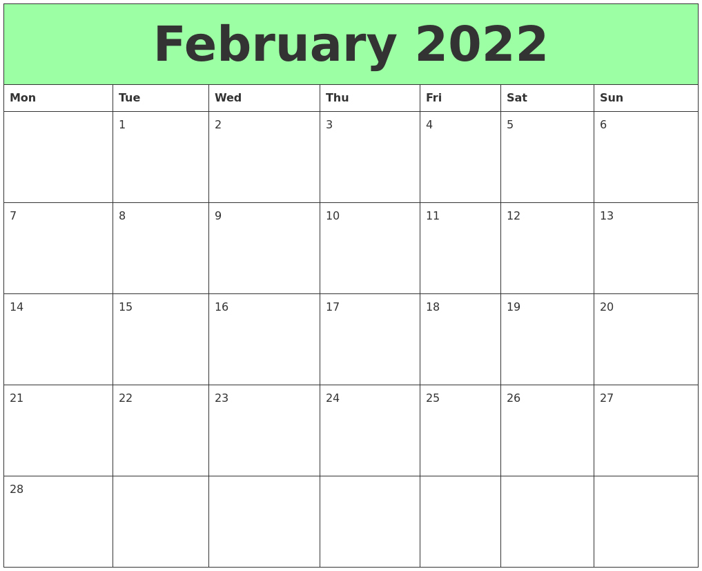 February 2022 Printable Calendars