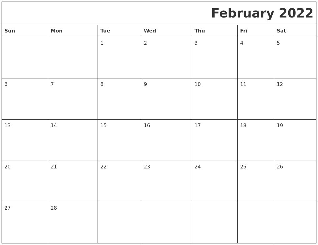 February 2022 Printable Calender
