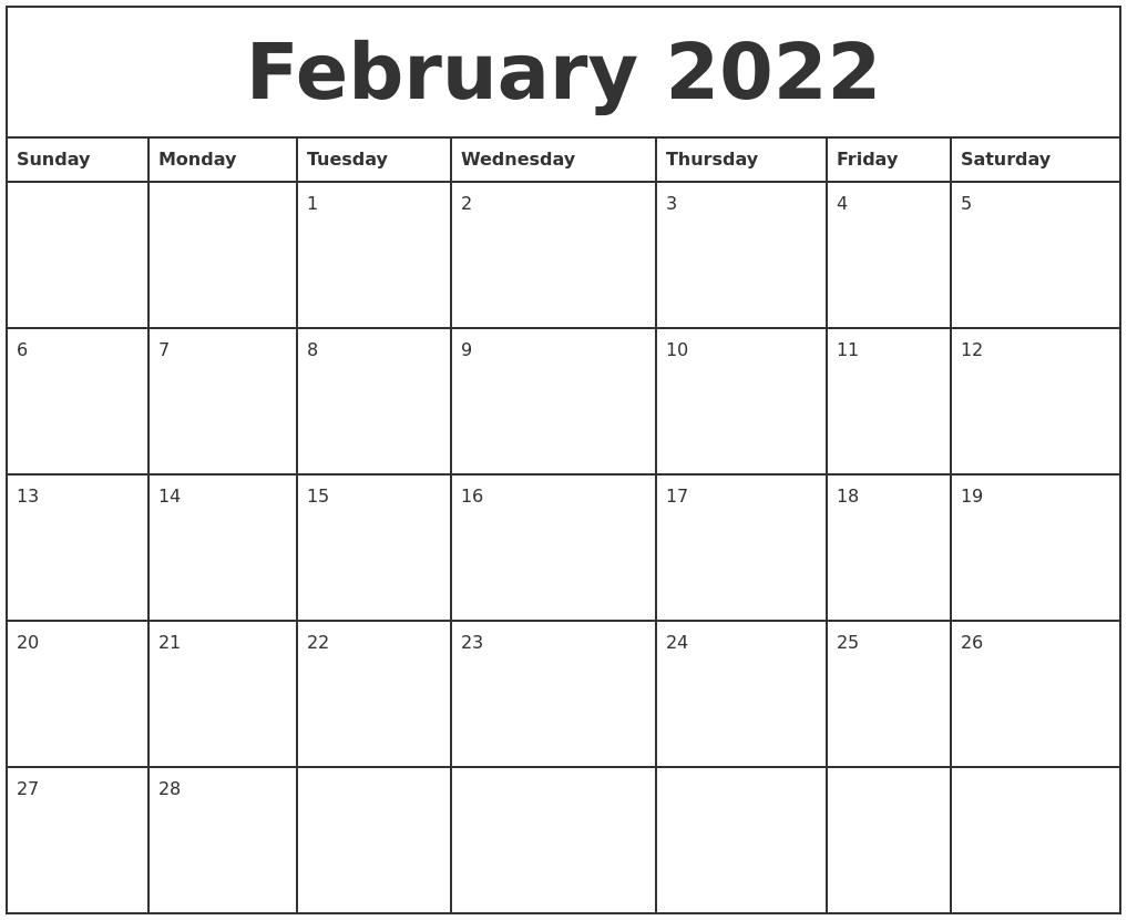 February 2022 Printable Monthly Calendar