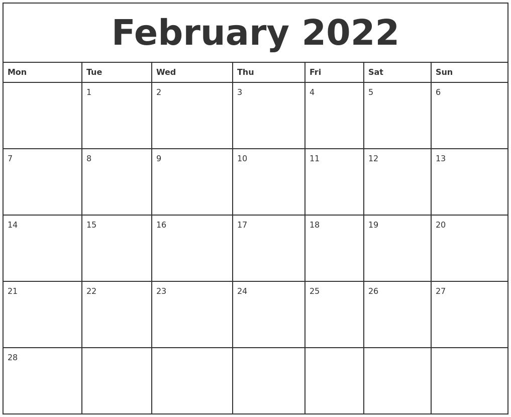 February 2022 Printable Monthly Calendar