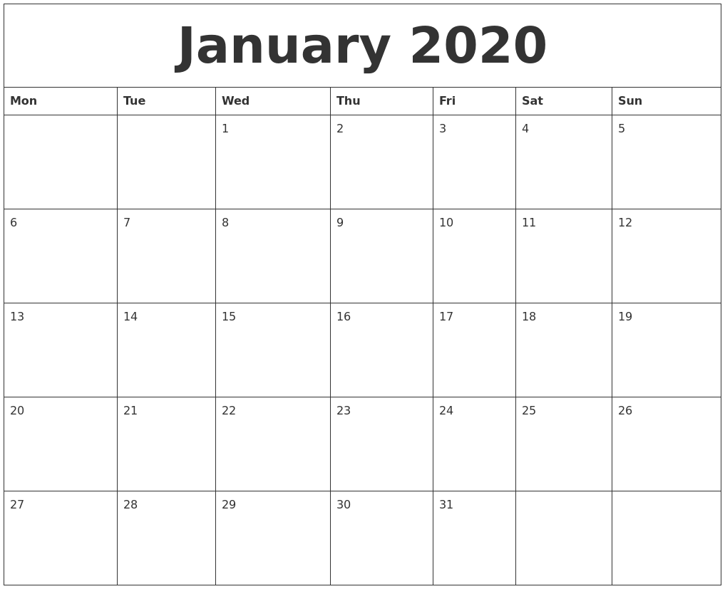 Image Result For Printable January Calendar
