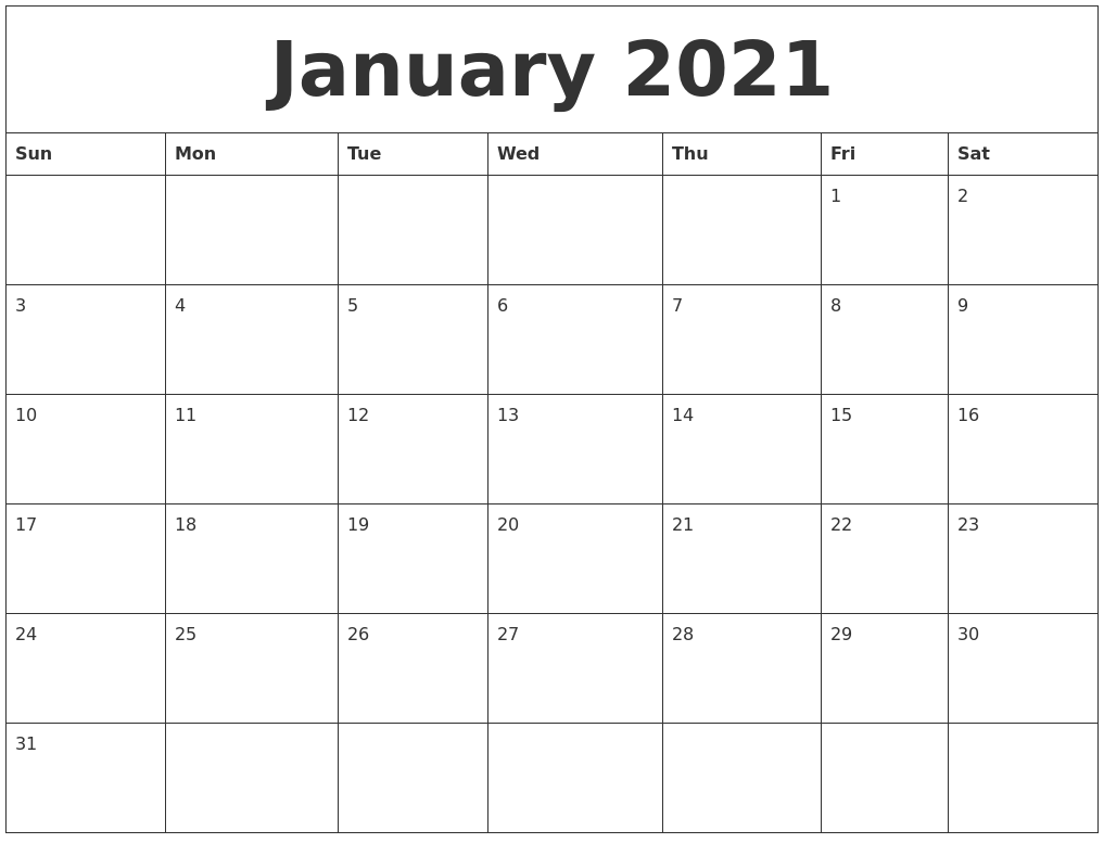 Download a free, printable calendar for 2021 to keep you organized in style. January 2021 Monthly Printable Calendar