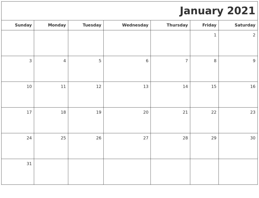 January 2021 Printable Blank Calendar