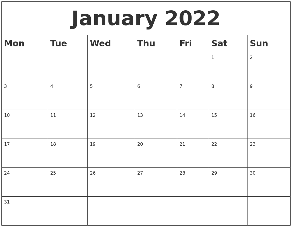 March is the 3rd month of the year and is associated with spring in the northern hemisphere. January 2022 Blank Calendar
