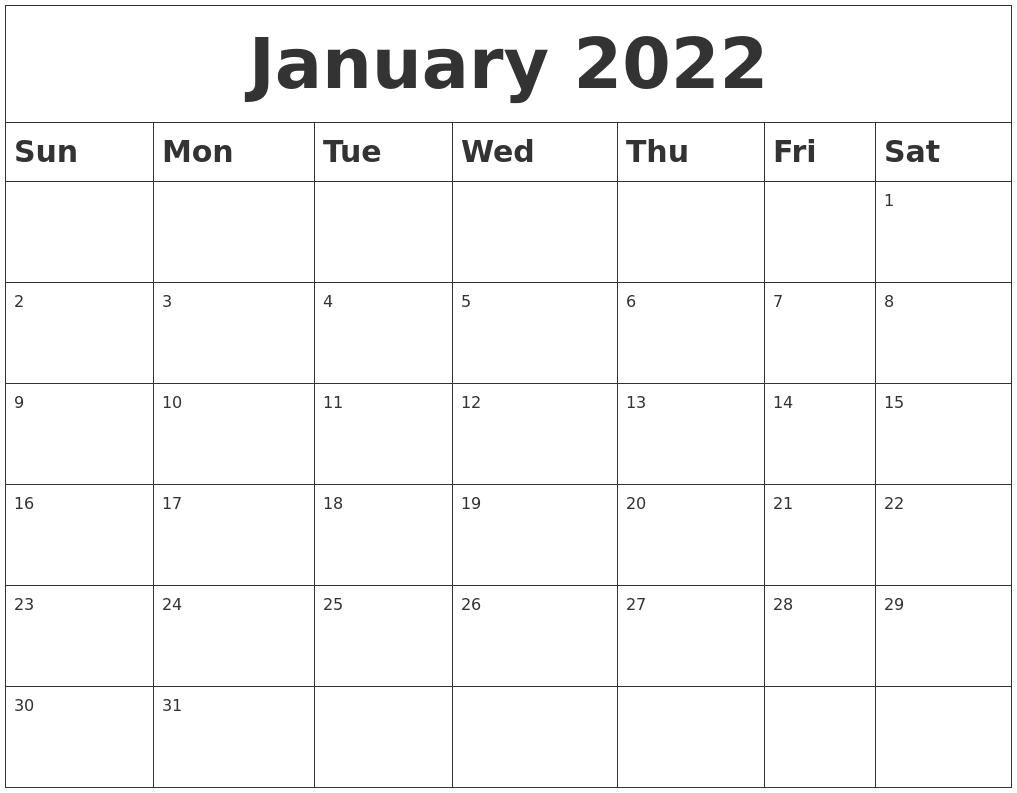 January 2022 Blank Calendar