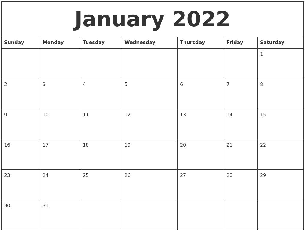 January 2022 Blank Monthly Calendar Template