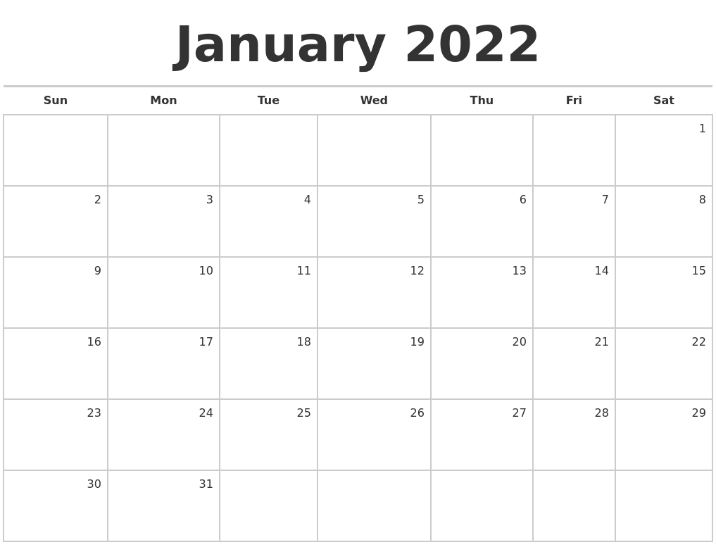 January 2022 Blank Monthly Calendar