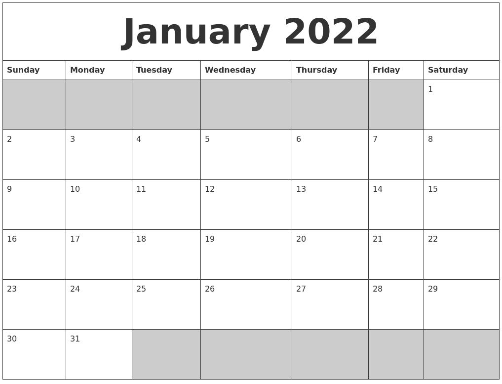 January 2022 Blank Printable Calendar