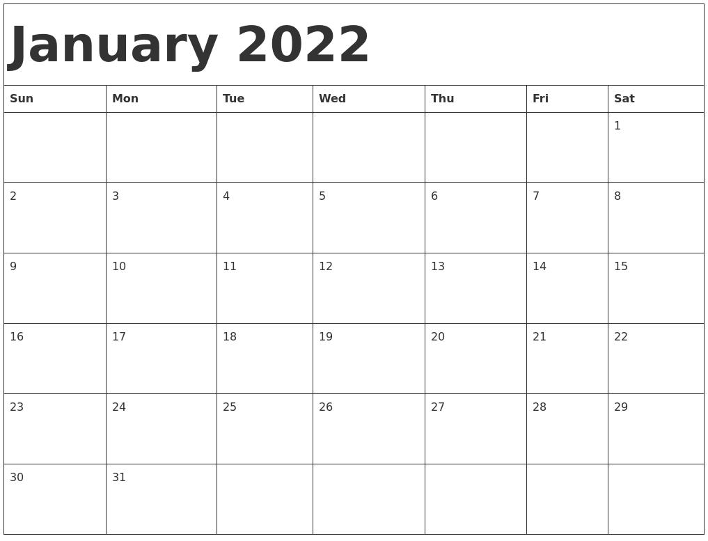 January 2022 Calendar Template