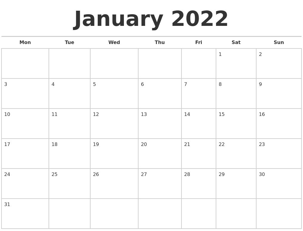 January 2022 Calendars Free