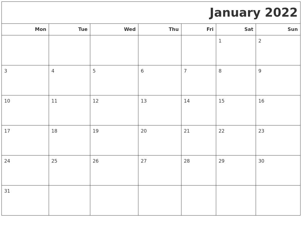 January 2022 Calendars To Print