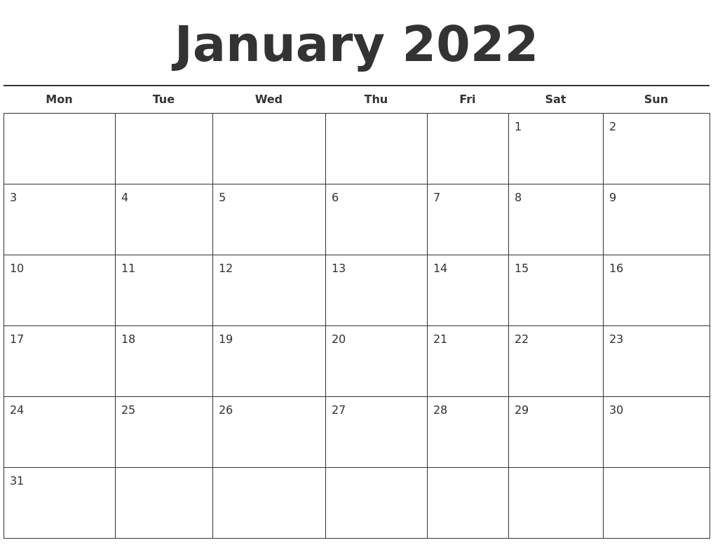 january 2022 calendar printable is the best destination where one can create their schedule of the entire day, week, month, or year. January 2022 Free Calendar Template