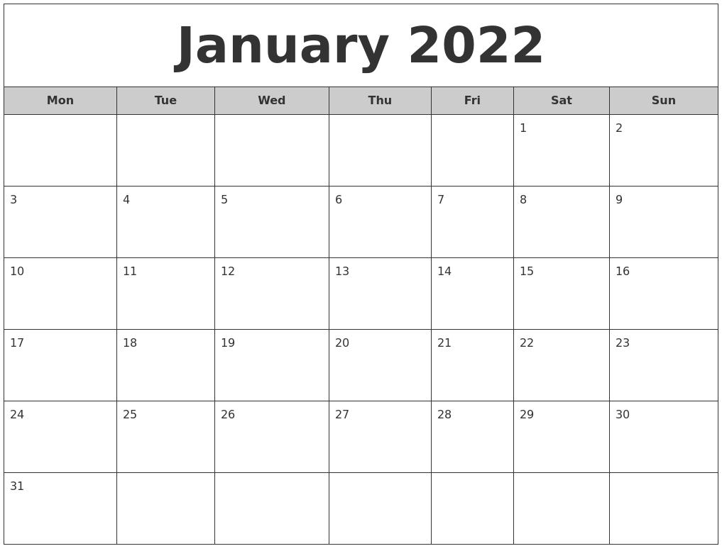 January 2022 Free Monthly Calendar