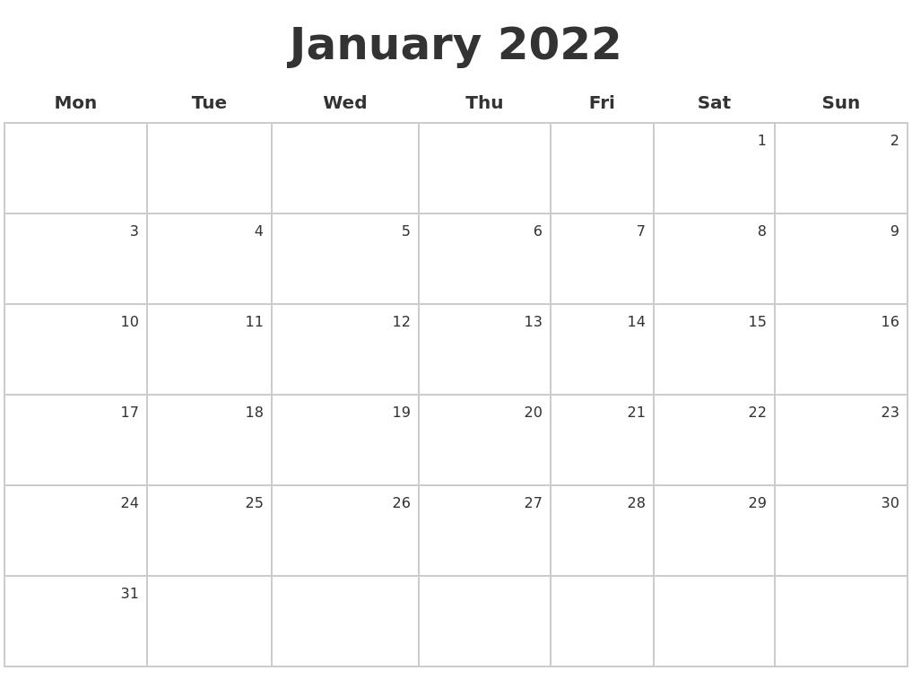 January 2022 Make A Calendar