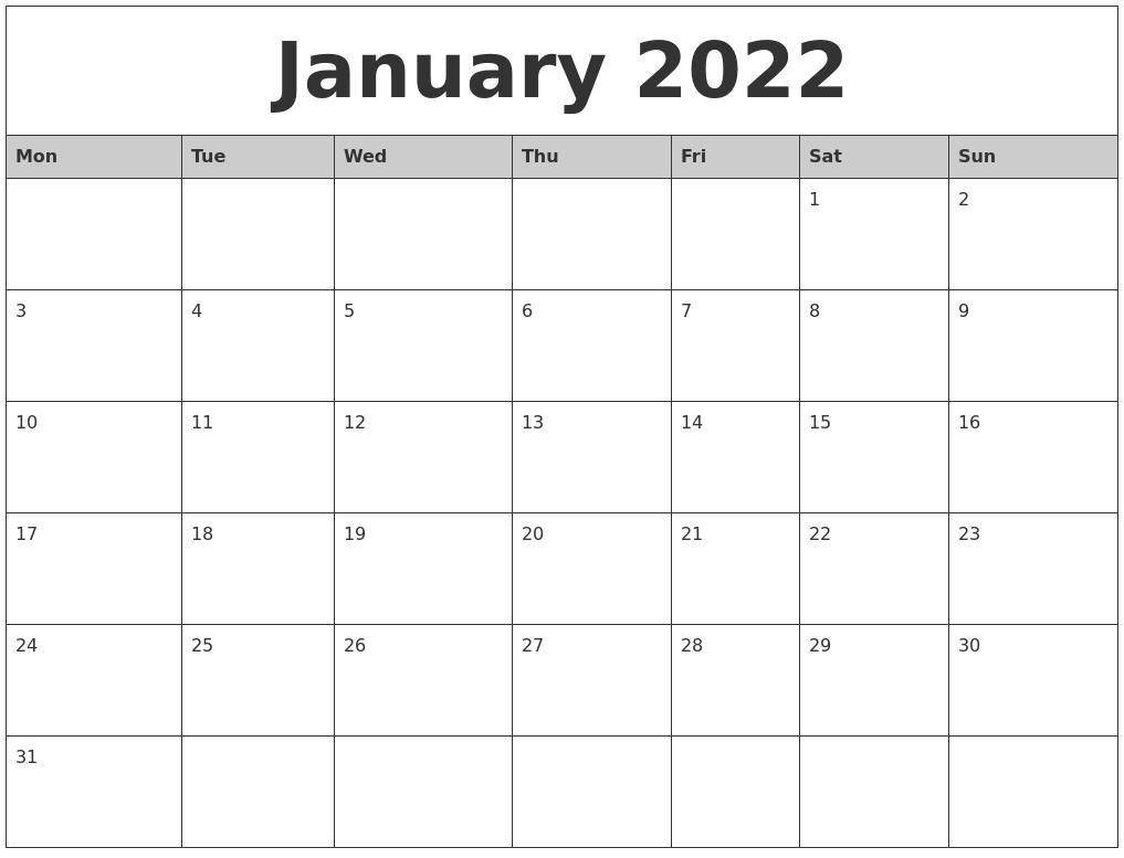 January 2022 Monthly Calendar Printable