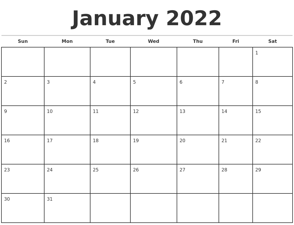 January 2022 Monthly Calendar Template