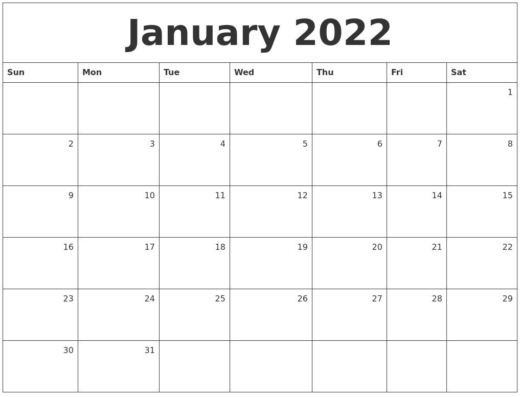 January 2022 Monthly Calendar