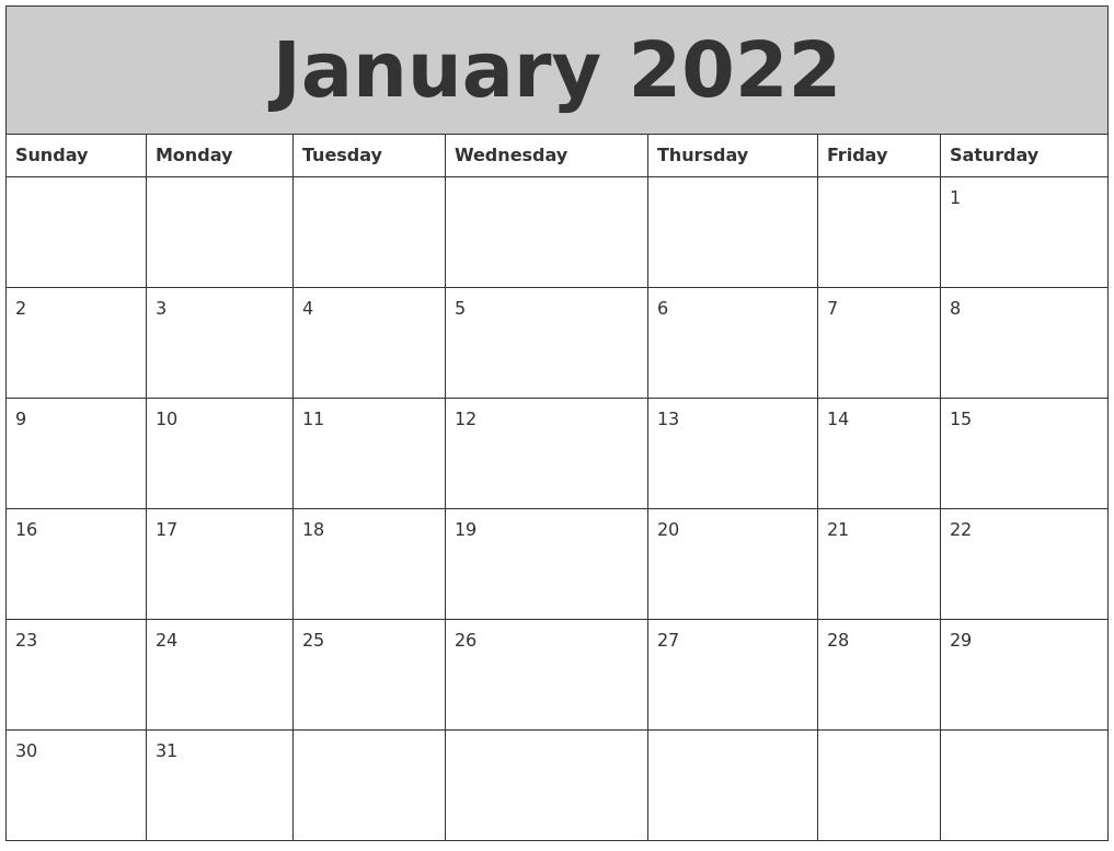 January 2022 My Calendar