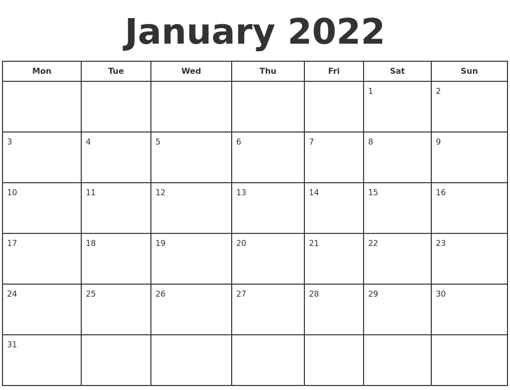 Celebrate a holiday or special day every day in january with recipes, crafts, games and lots more fun things to do. January 2022 Print A Calendar