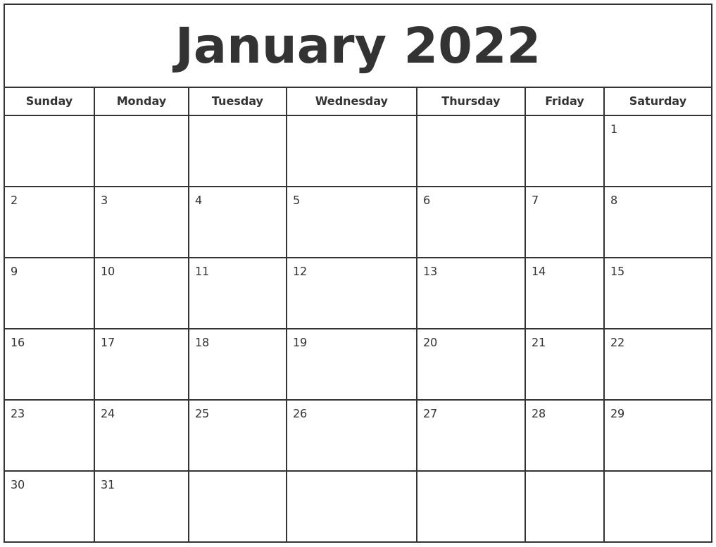 January 2022 Print Free Calendar