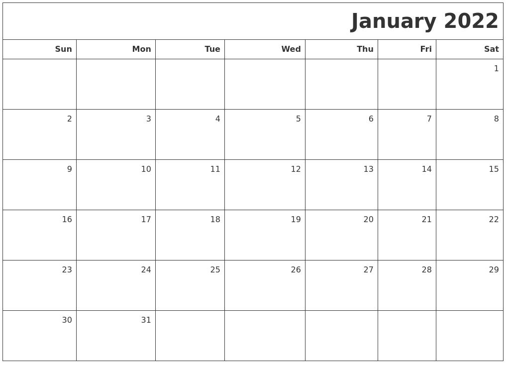 January 2022 Printable Blank Calendar