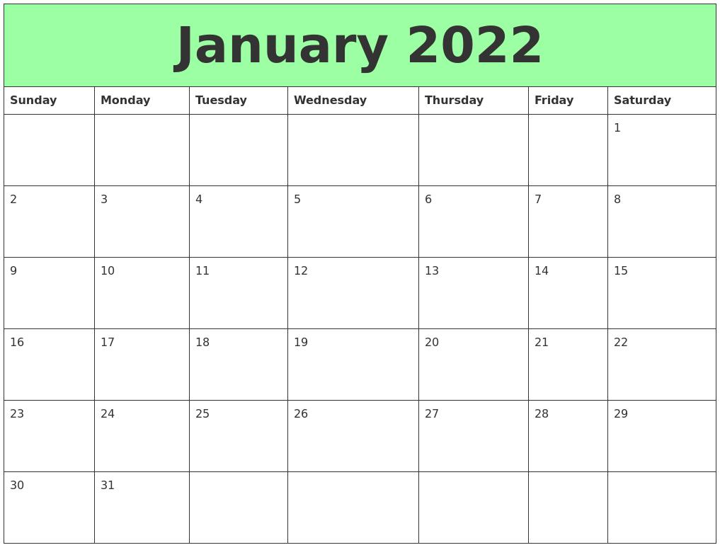 January 2022 Printable Calendars