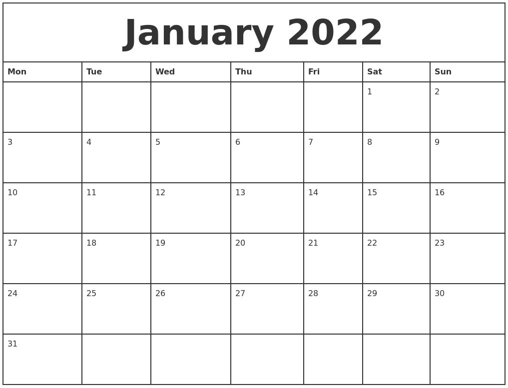 January 2022 Printable Monthly Calendar