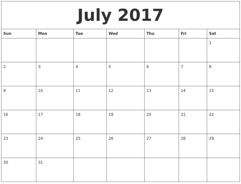 Image Result For Blank July Printable Calendar
