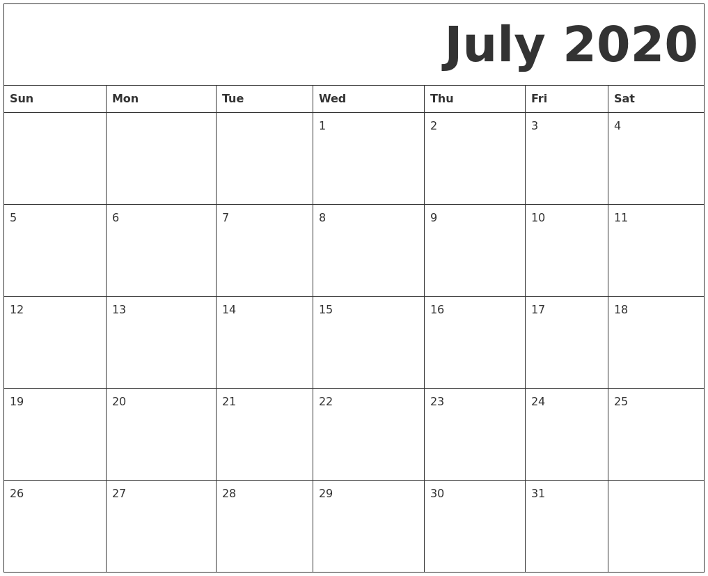 Image Result For A Printable Calendar