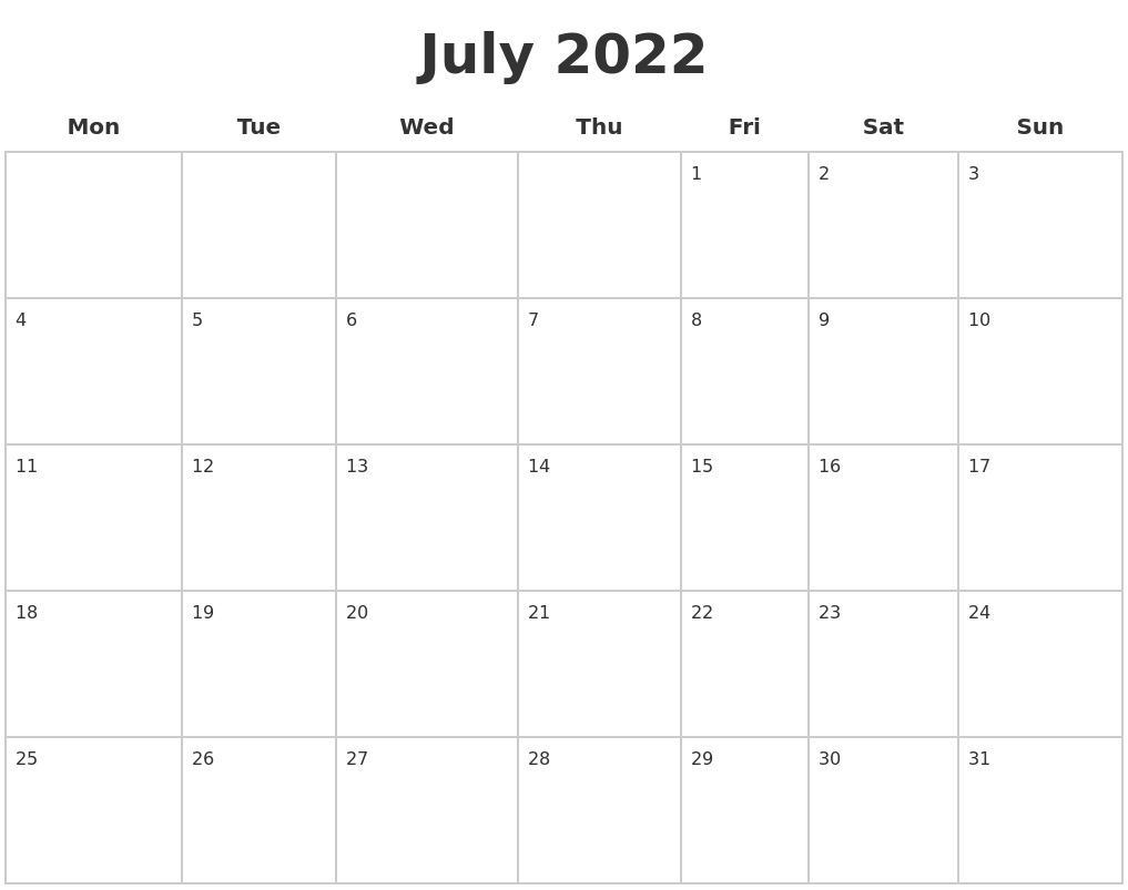 July 2022 Blank Calendar Pages