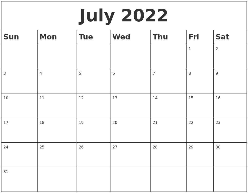 August 2022 Blank Calendar Template