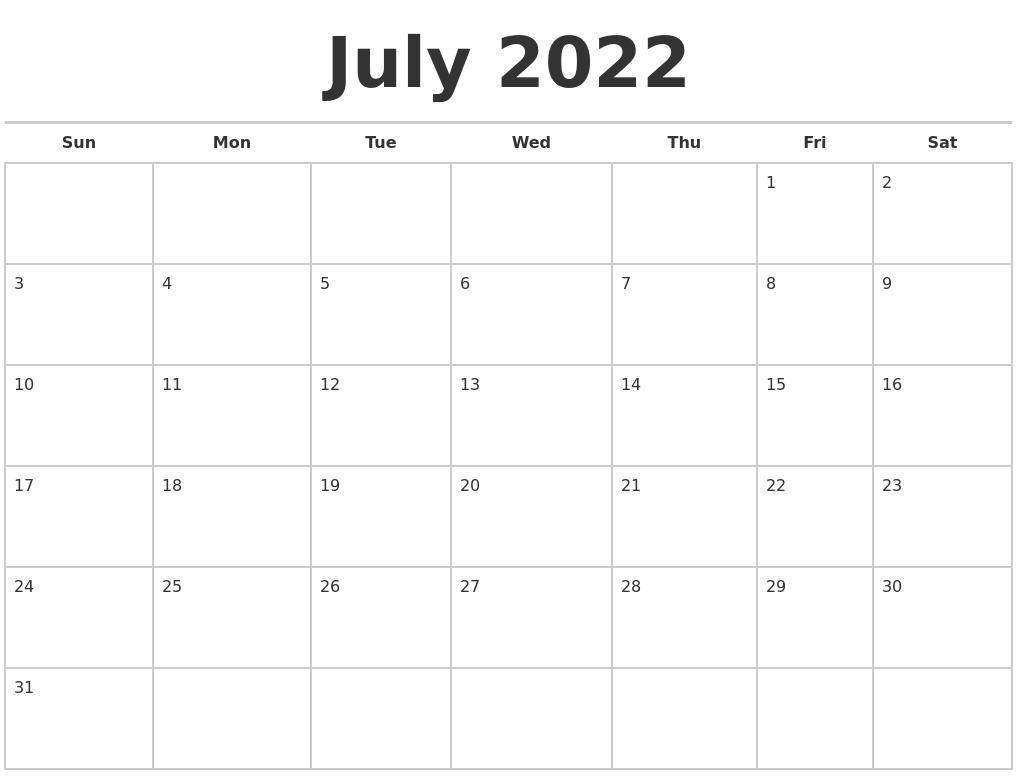 June 2022 Monthly Calendar Template