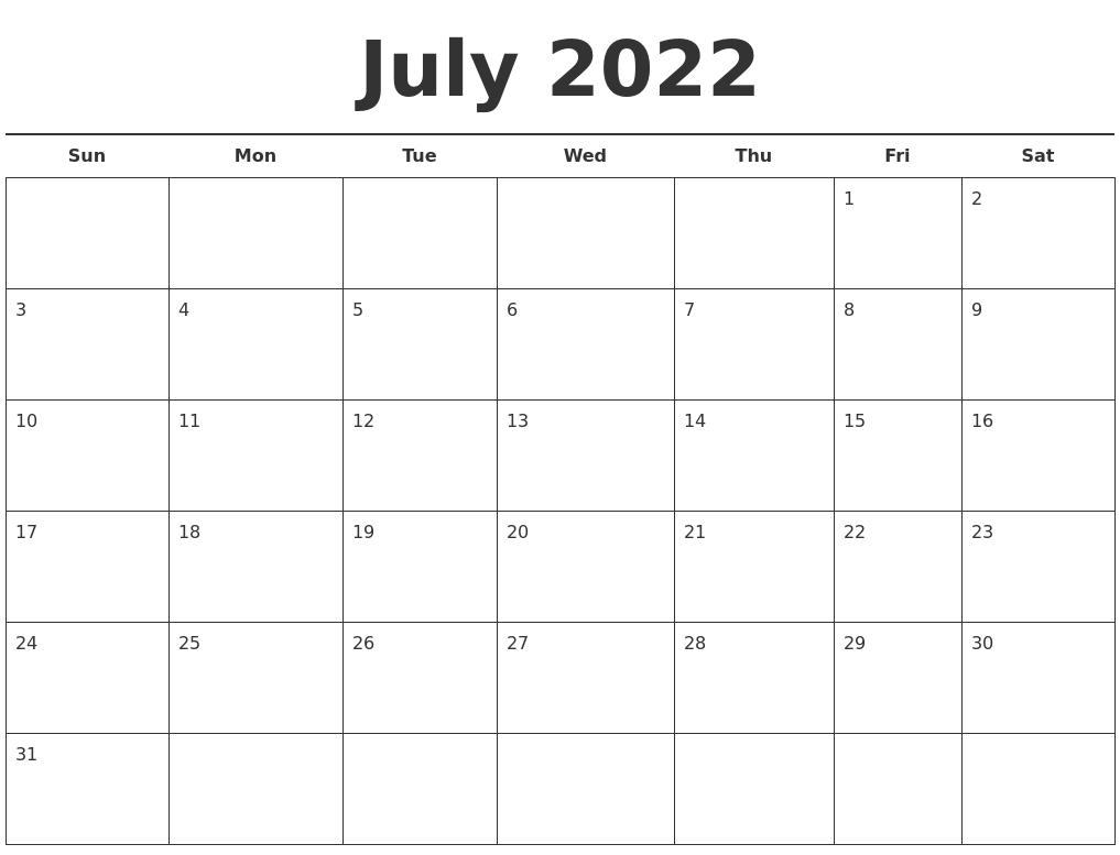 Image Result For July Calendar Printable