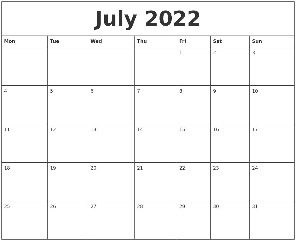 July 2022 Free Printable Blank Calendar