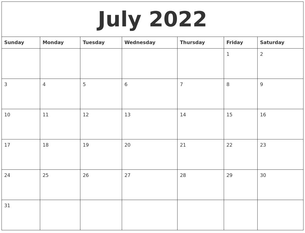 July 2022 Large Printable Calendar