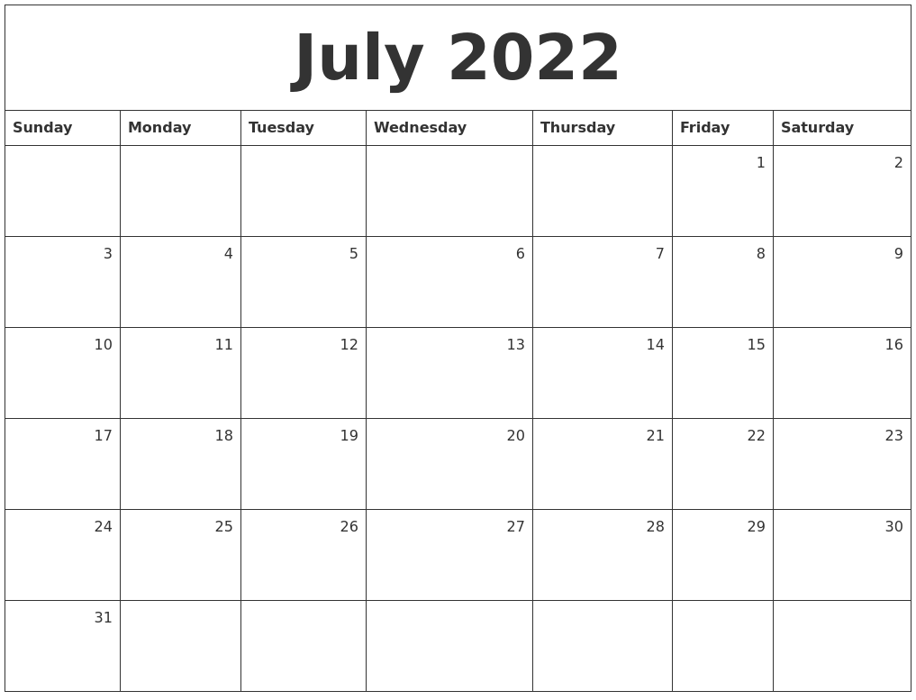 July 2022 Monthly Calendar
