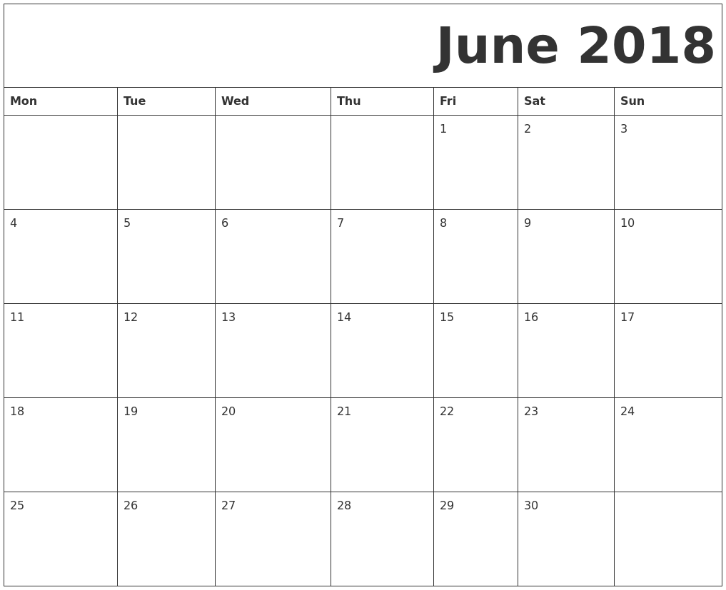 June 2018 Free Printable Calendar