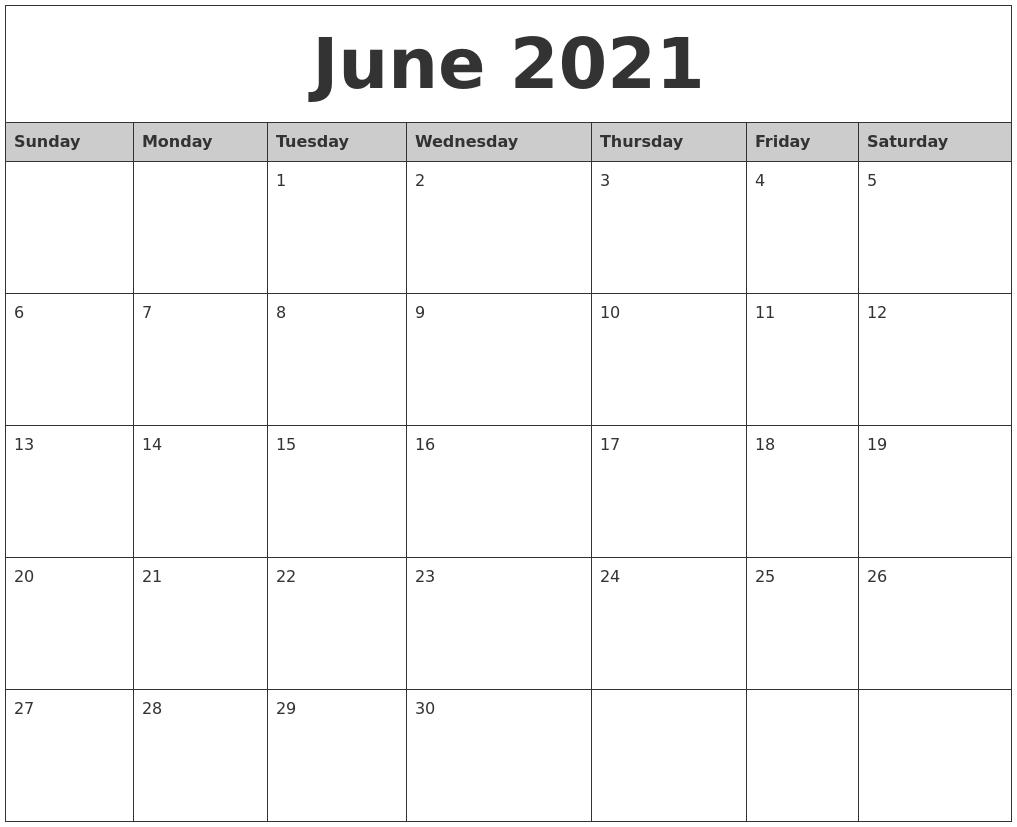June 2021 Monthly Calendar Printable