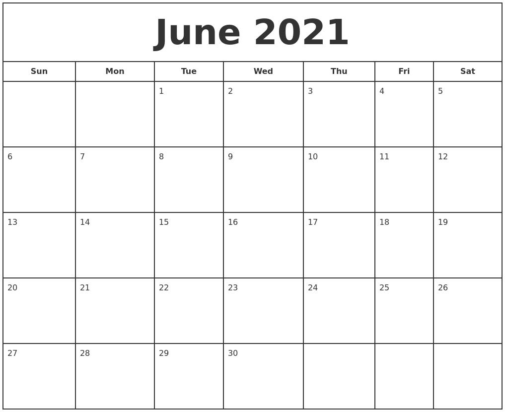 June 2021 Print Free Calendar