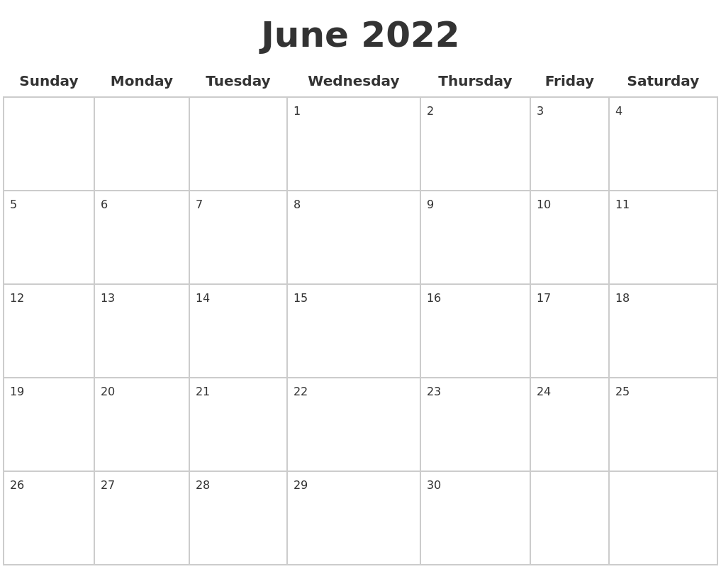 June 2022 Blank Calendar Pages