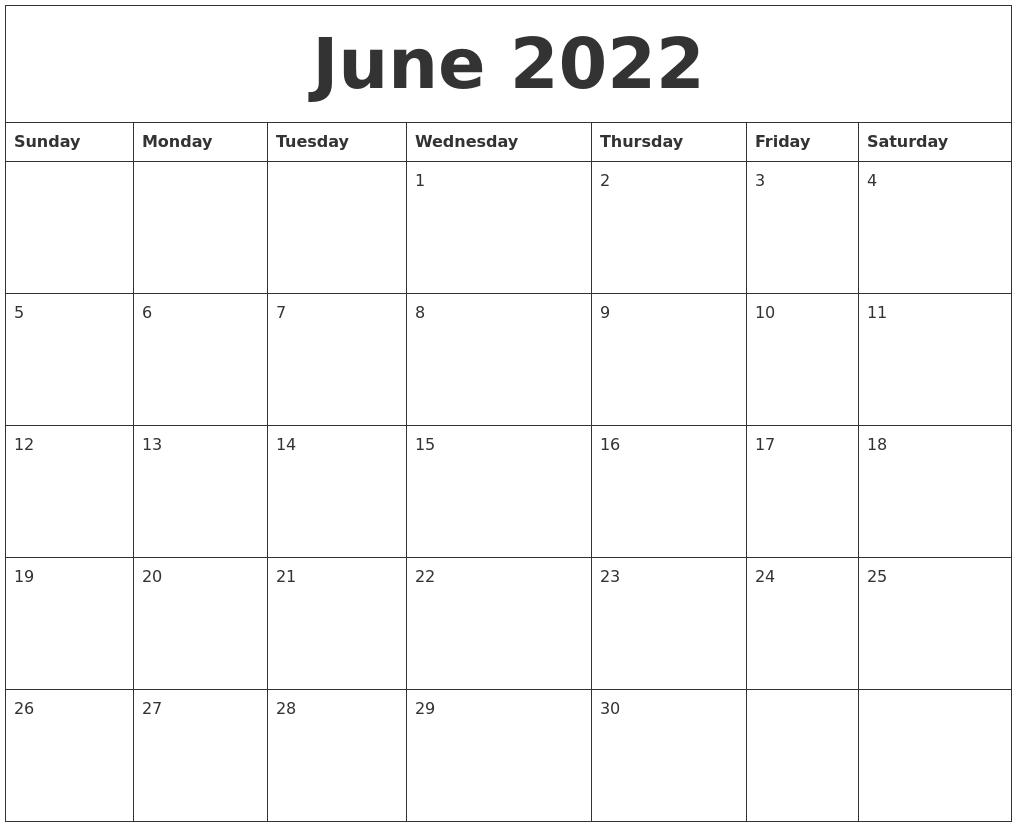 June 2022 Blank Printable Calendars