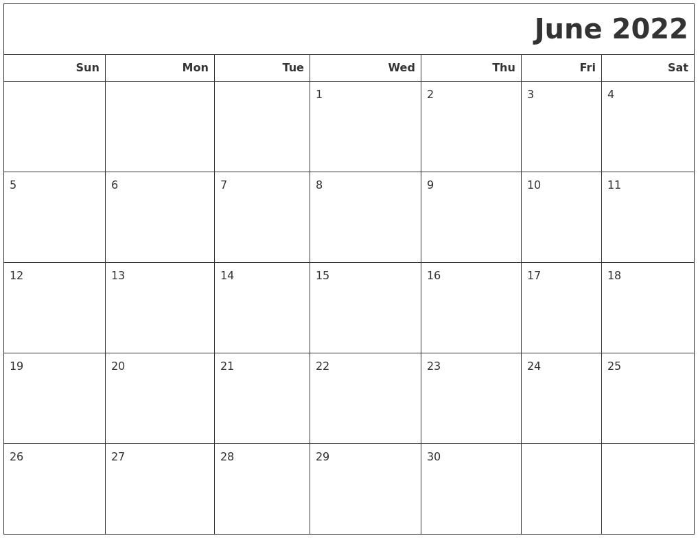 June 2022 Calendars To Print