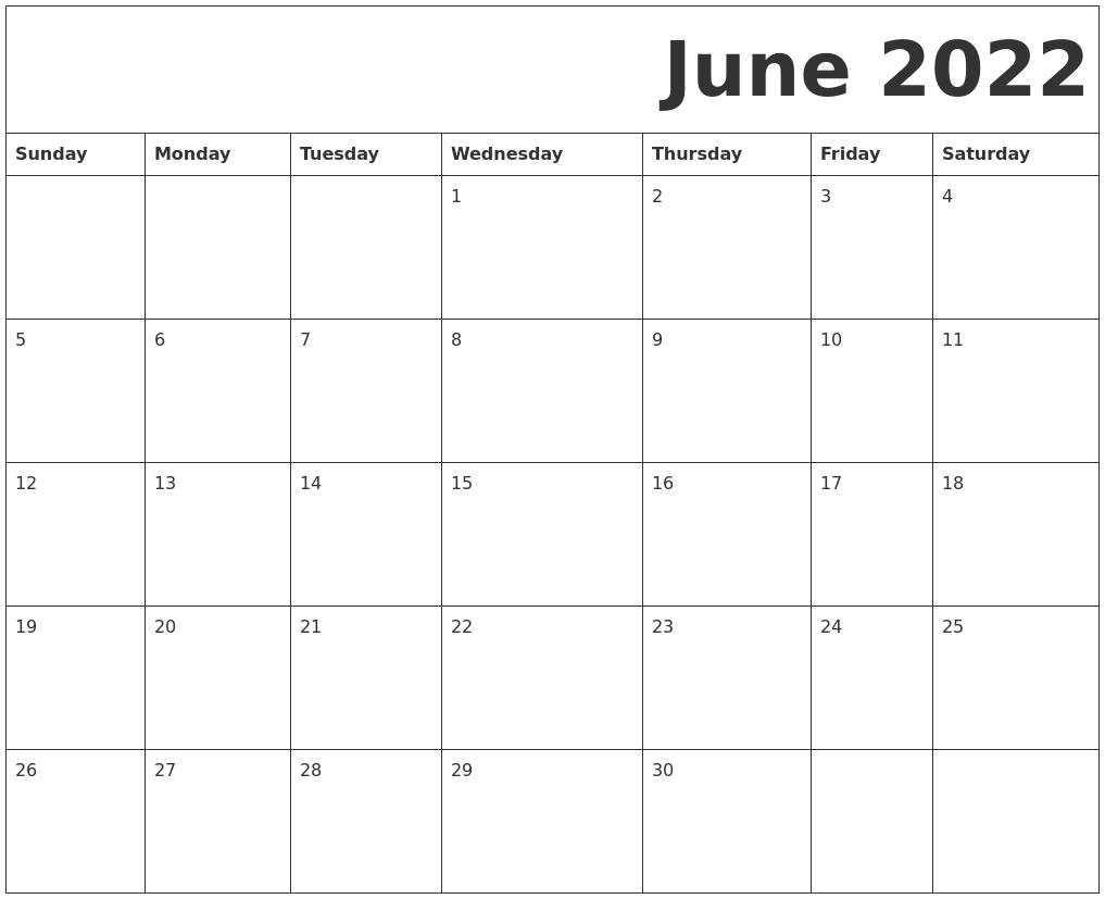 June 2022 Free Printable Calendar