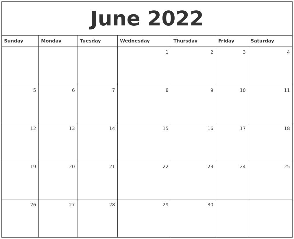 June 2022 Monthly Calendar