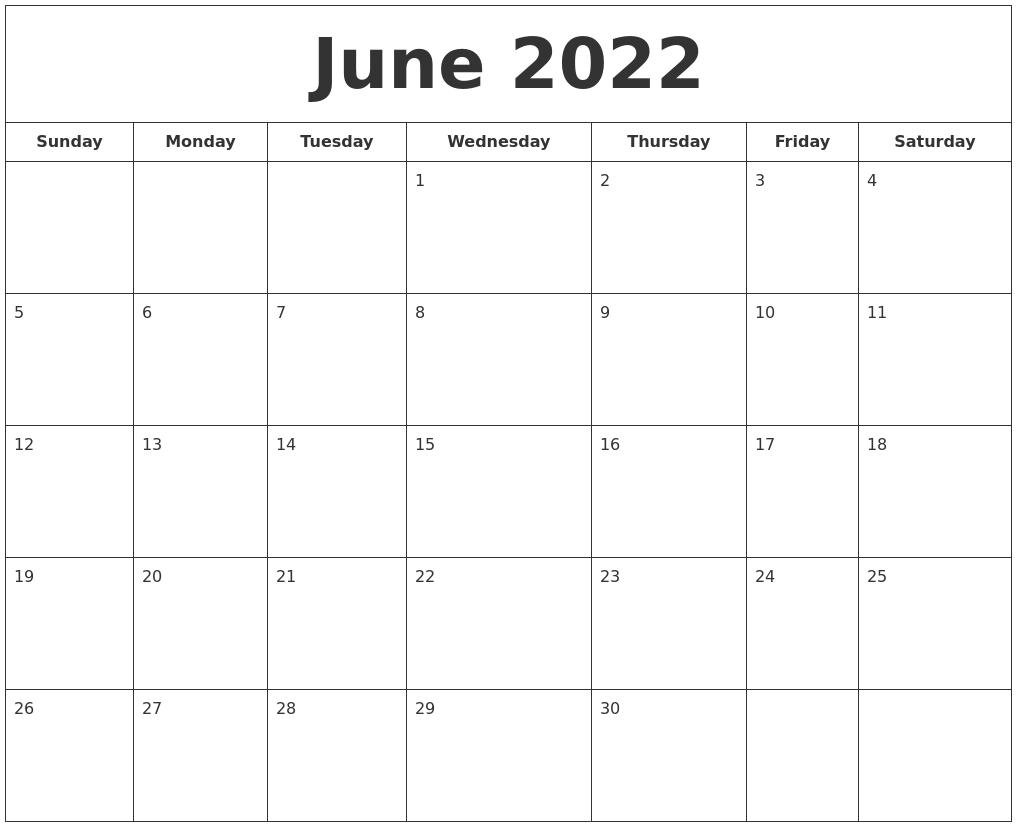 June 2022 Printable Calendar