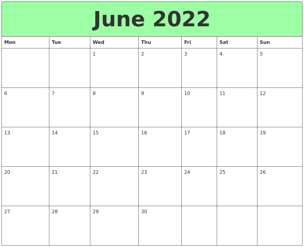 These free june 2026 calendar templates allow you to create a professional calendar just by choosing any month you like. June 2022 Printable Calendars