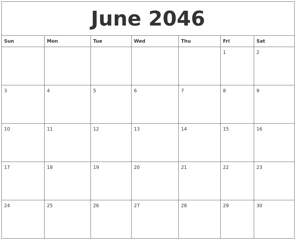 June 2046 Printable Daily Calendar
