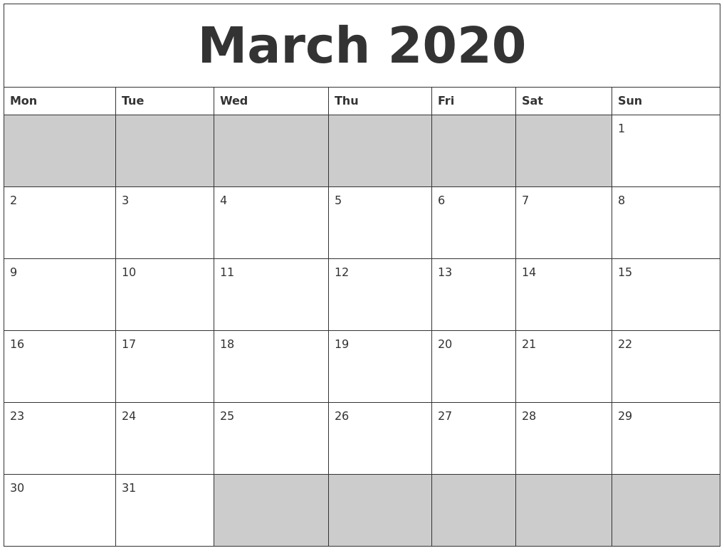 Image Result For Printable Blank March Calendar