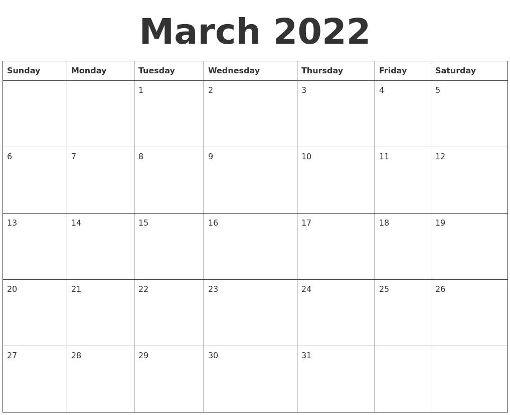 March 2022 Blank Calendar Template